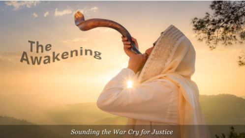 A Man Blowing the Shofar for Pentecost