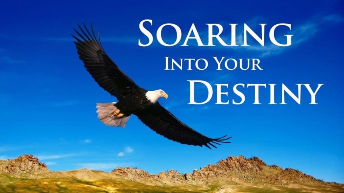 Eagle-soaring-high-above-mountains-